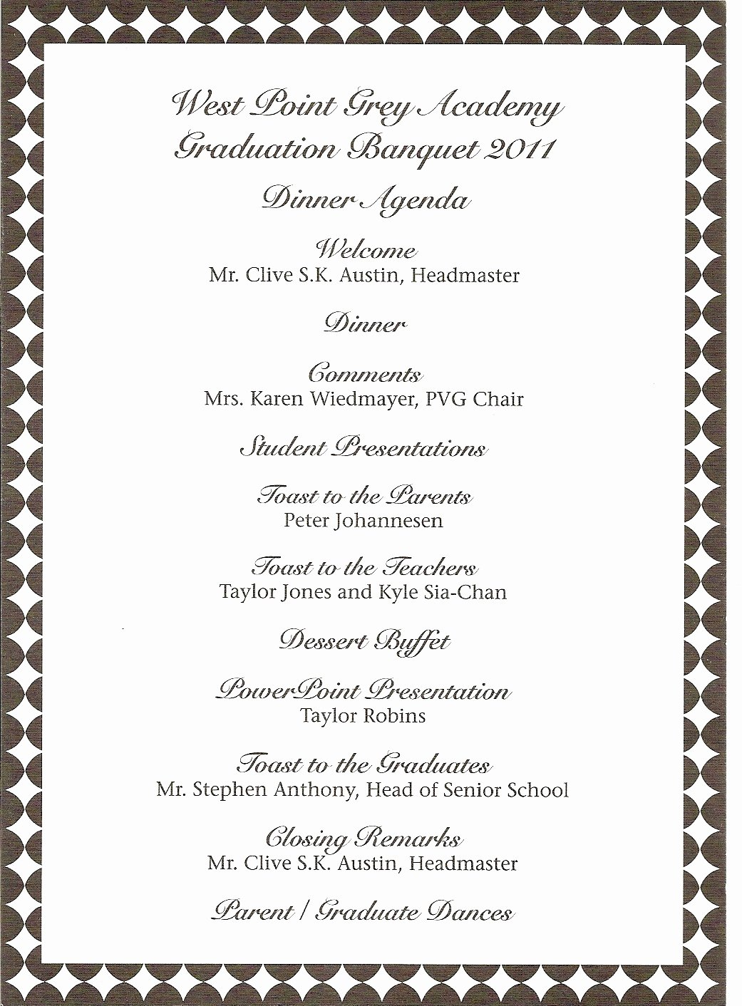 Graduation Ceremony Agenda Beautiful Donna S Report Wpga Graduation Banquet Teddy