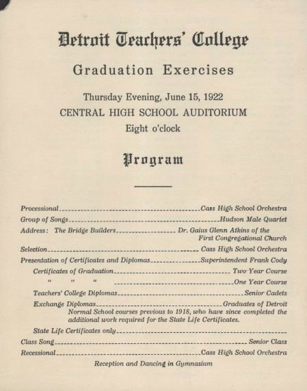 Graduation Ceremony Agenda Beautiful Walter P Reuther Library