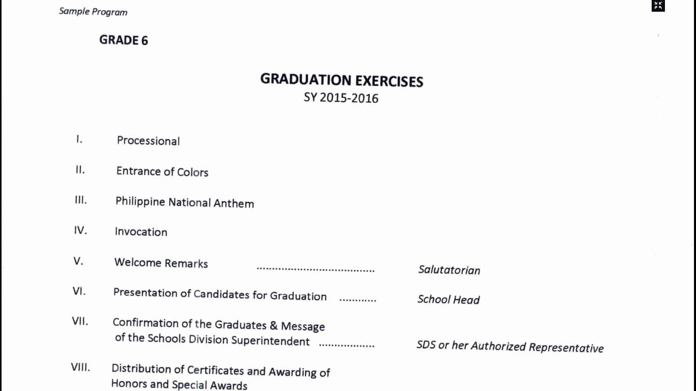 Graduation Ceremony Agenda Inspirational Program Flow for Graduation Of Grade 6 and Pletion
