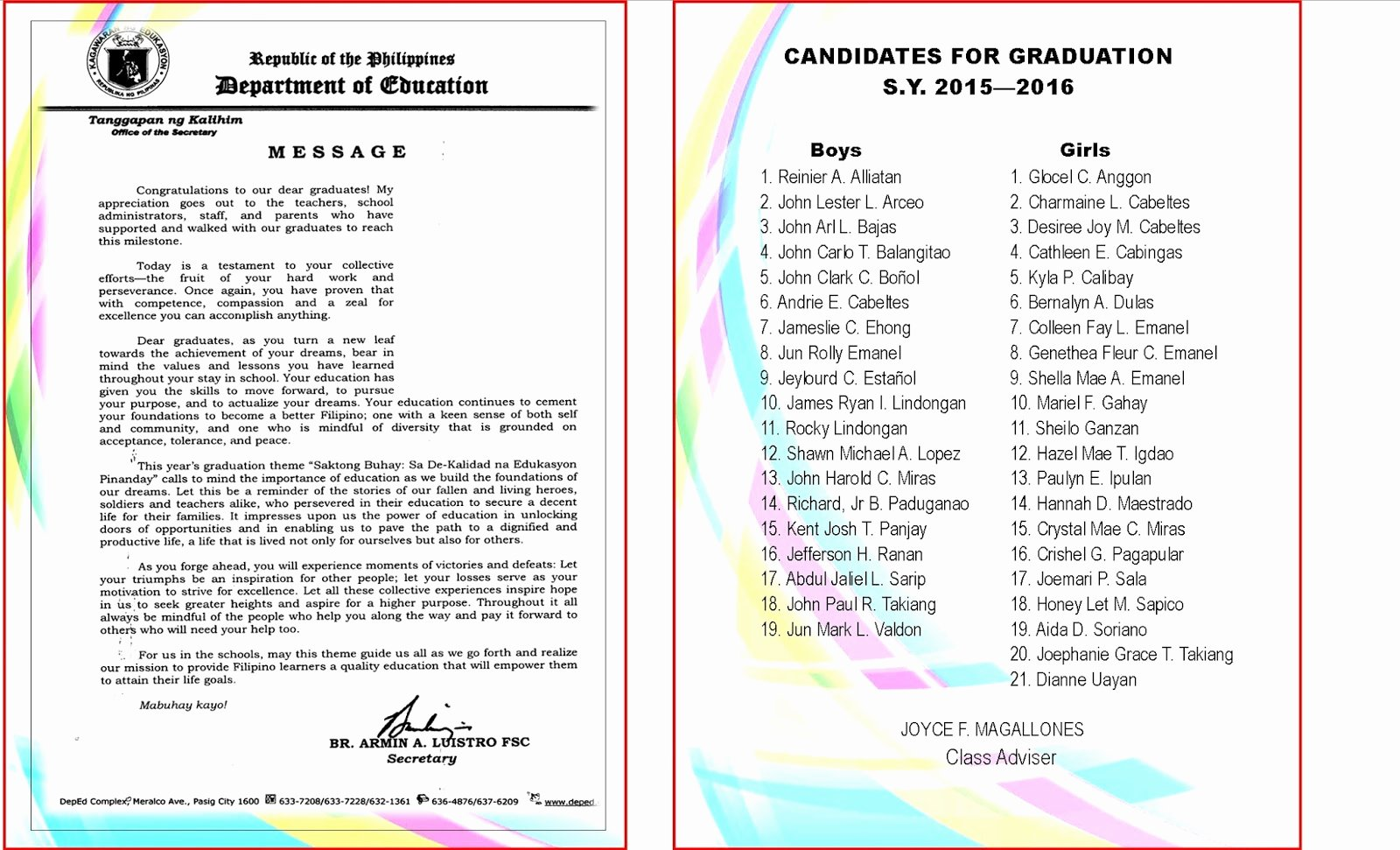Graduation Ceremony Agenda Lovely 2015 2016 Graduation Program New Template Deped Lp S