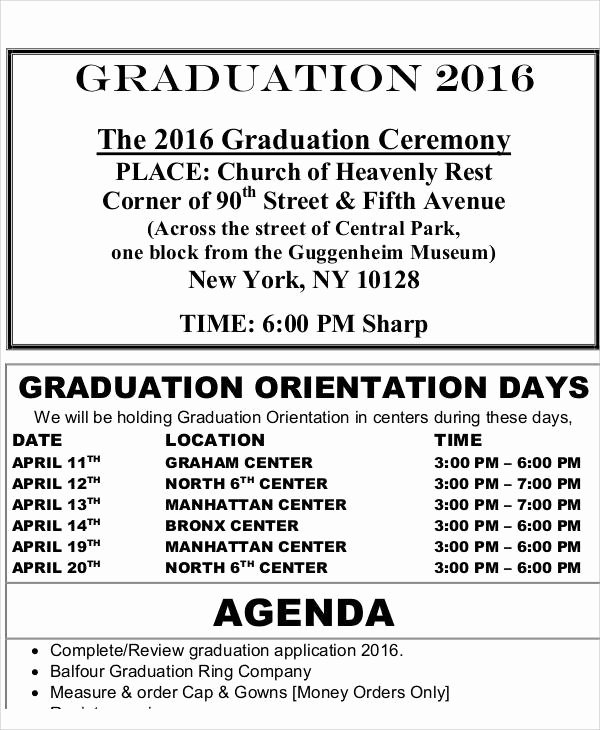 Graduation Ceremony Agenda Luxury 42 Free Agenda Templates