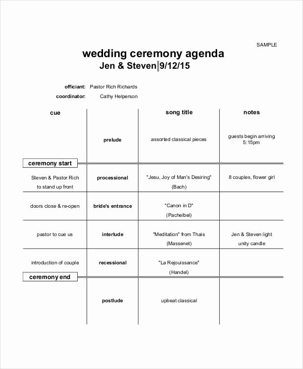 Graduation Ceremony Agenda Luxury 6 Ceremony Agenda Examples Samples