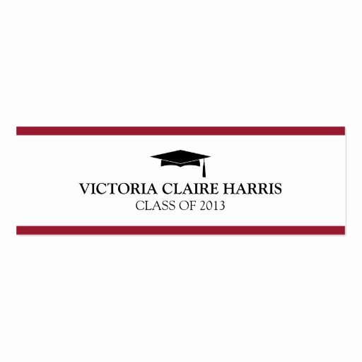 Graduation Name Cards Template Awesome Red Stripe Border Graduation Cap Name Card Double Sided