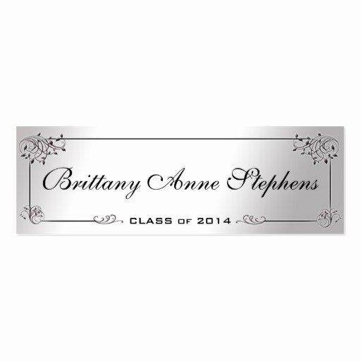 Graduation Name Cards Template Elegant Elegant Silver Graduation Name Card Insert Double Sided