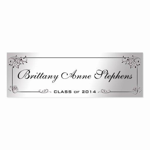 Graduation Name Cards Template Elegant Elegant Silver Graduation Name Card Insert Double Sided