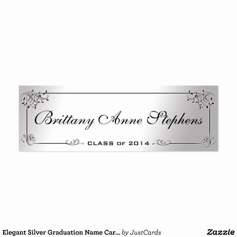 Graduation Name Cards Template Lovely Elegant Silver Graduation Name Card Insert