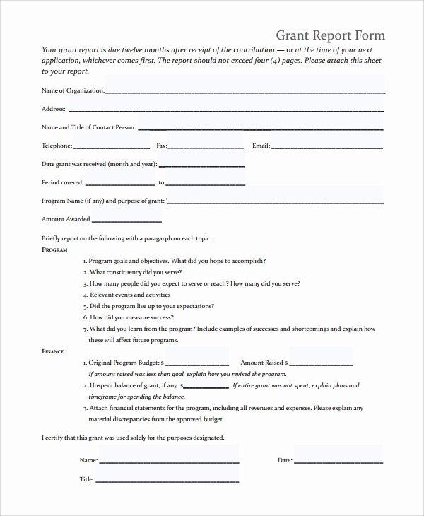 Grant Report Sample Fresh 9 Sample Grant Report forms