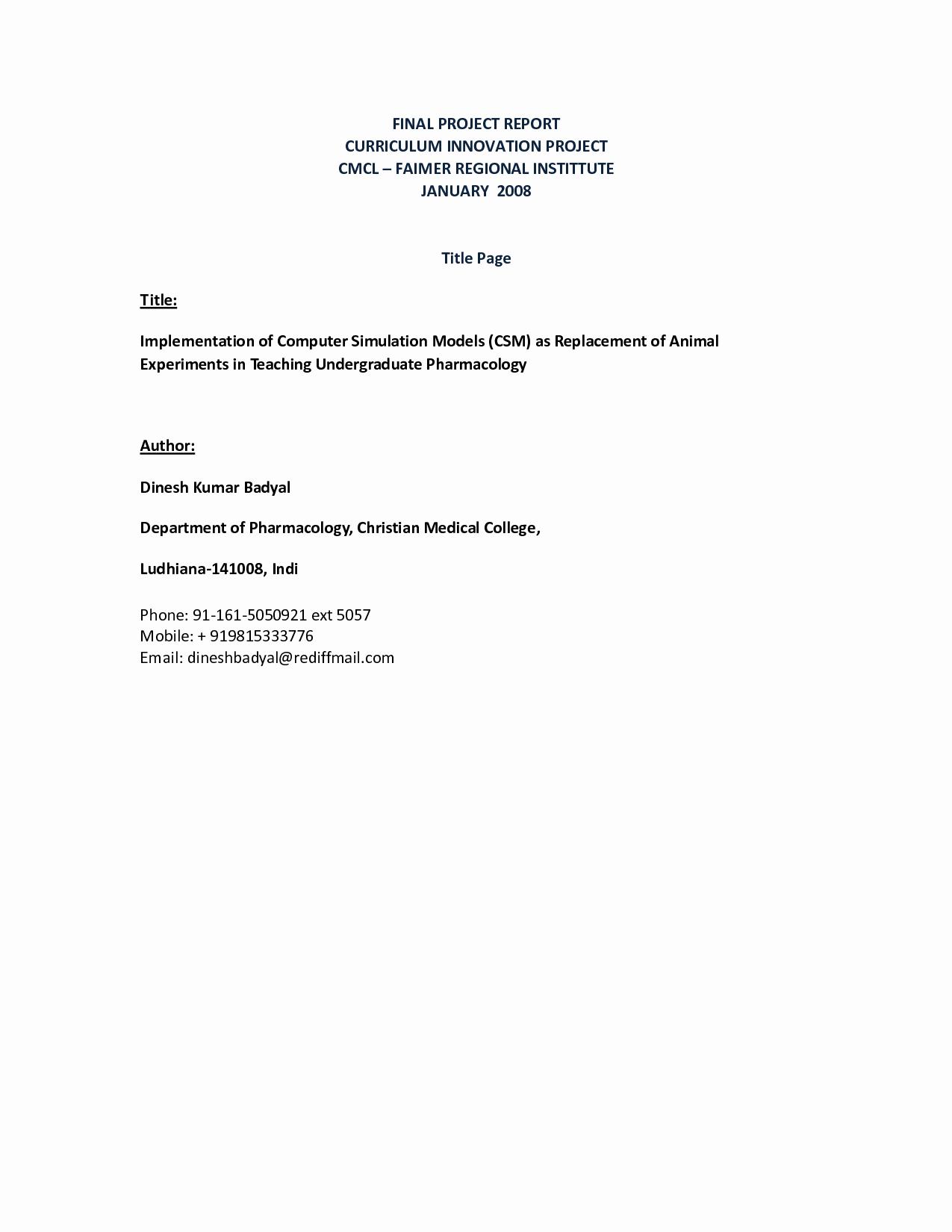 Grant Report Sample Inspirational Best S Of Final Report format Project Report format