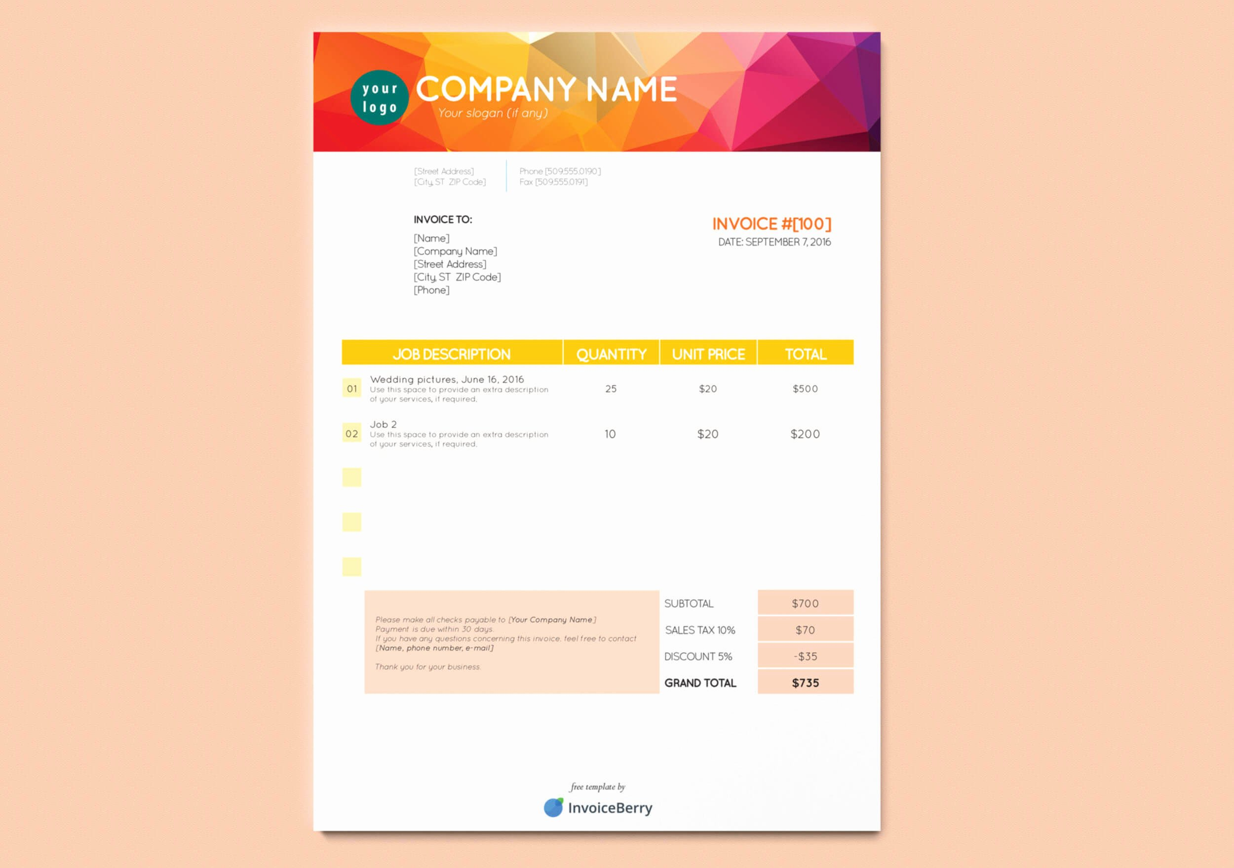 Graphic Design Invoice Examples Fresh Free New Indesign Invoice Templates
