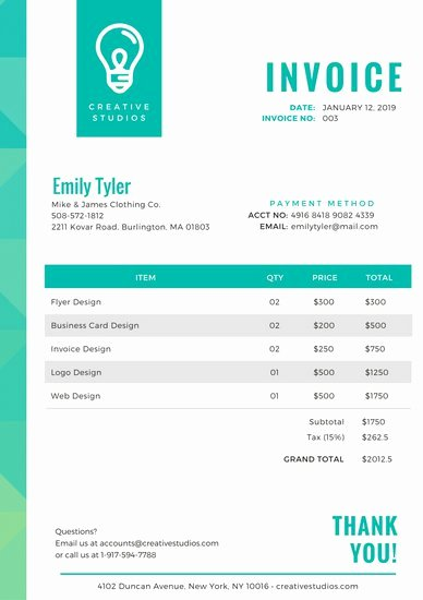 Graphic Design Invoice Examples Luxury Customize 203 Invoice Templates Online Canva