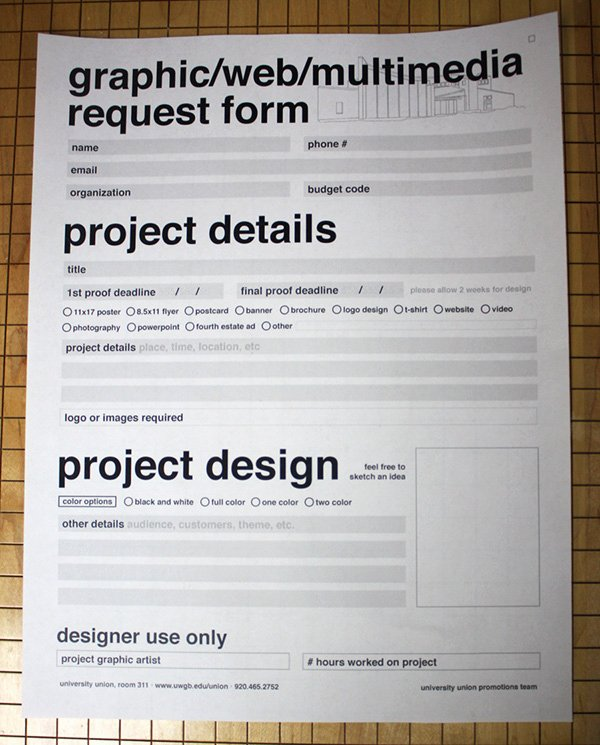 Graphic Design Project Request form Beautiful Uwgb Graphic Request form On Behance