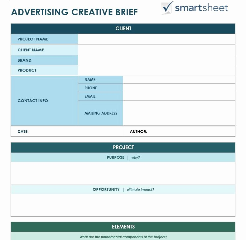 Graphic Design Request form Template Inspirational Free Creative Brief Templates Smartsheet
