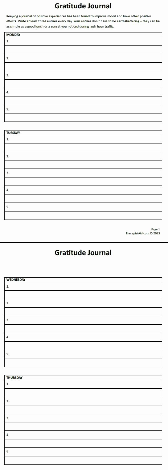 Gratitude Journal Template Free Awesome Gratitude Journal therapist Aid Education