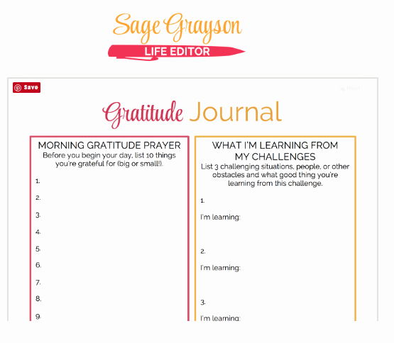Gratitude Journal Template Free Awesome Printable Gratitude Journal