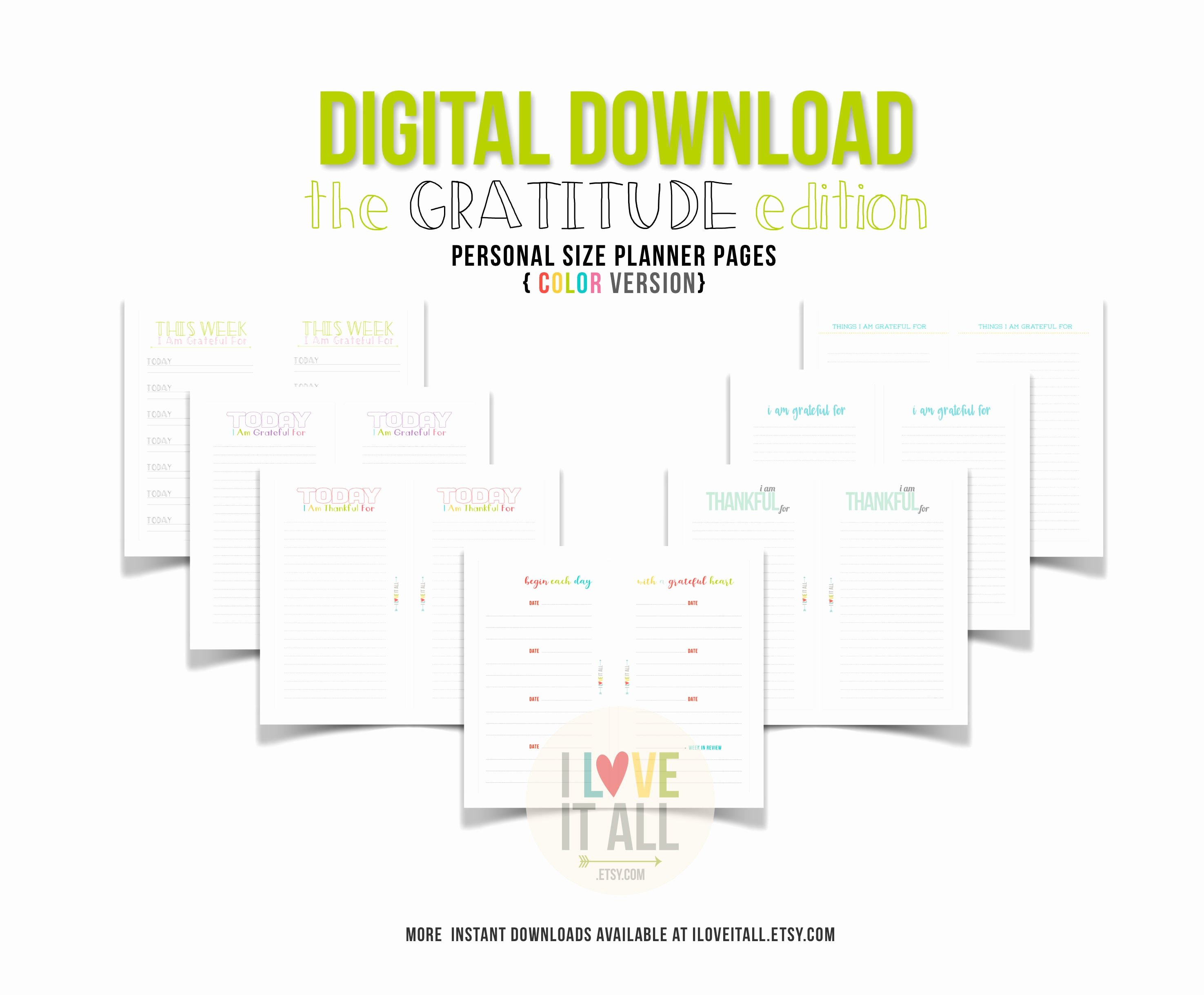 Gratitude Journal Template Free Best Of Gratitude Journal Planner Pages Color Planner Insert