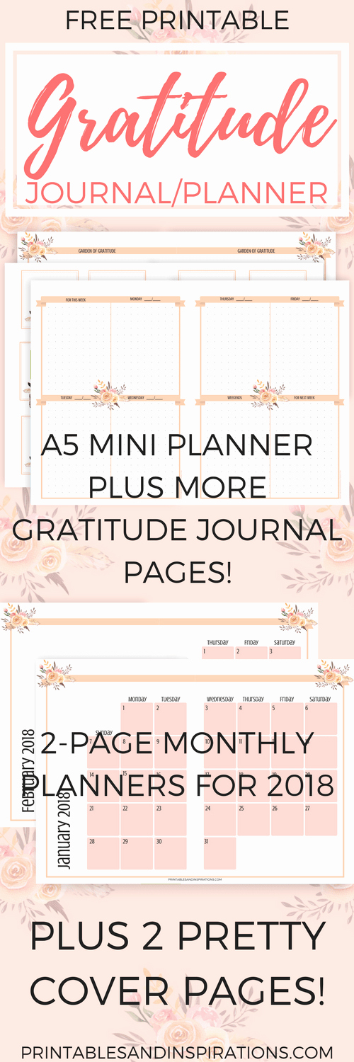 Gratitude Journal Template Free Elegant Free Gratitude Journal Planner Plus 2018 Calendar