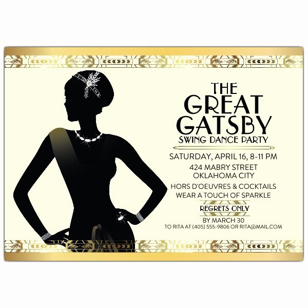 Great Gatsby Party Invitation Template Free Awesome Gatsby Flapper Girl Party Invitations
