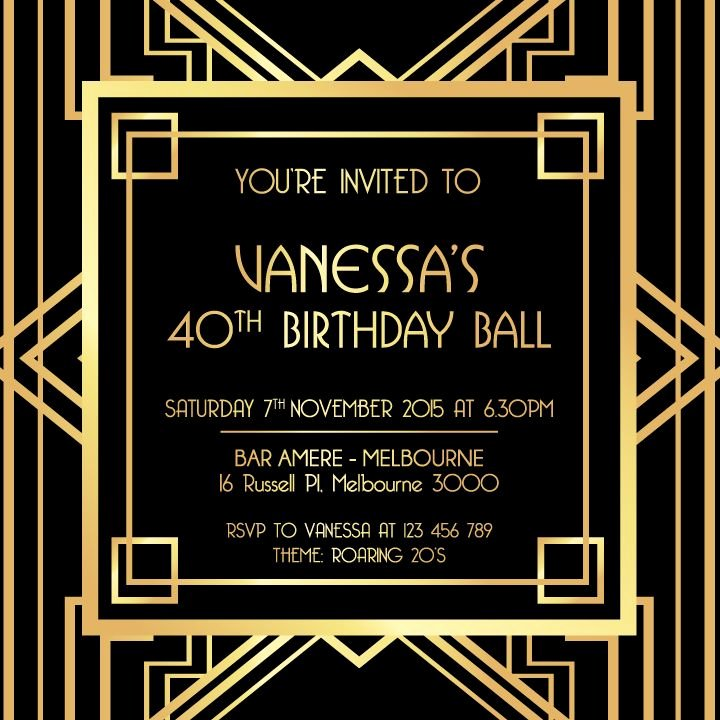 Great Gatsby Party Invitation Template Free Awesome Great Gatsby Digital Printable Invitation Template Black