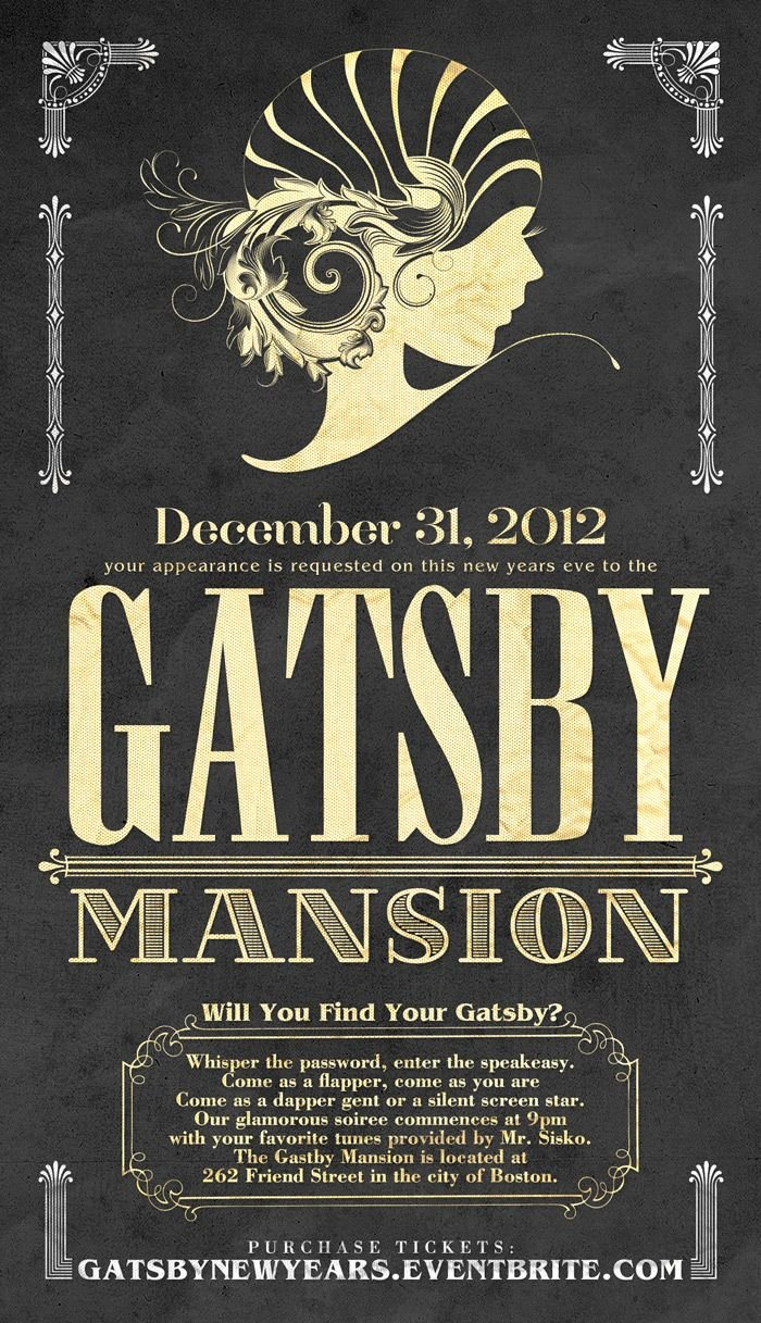 Great Gatsby Party Invitation Template Free Awesome Invite Great Gatsby Graphics Pinterest