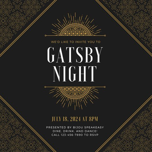 Great Gatsby Party Invitation Template Free Best Of Great Gatsby Invitation Templates Canva