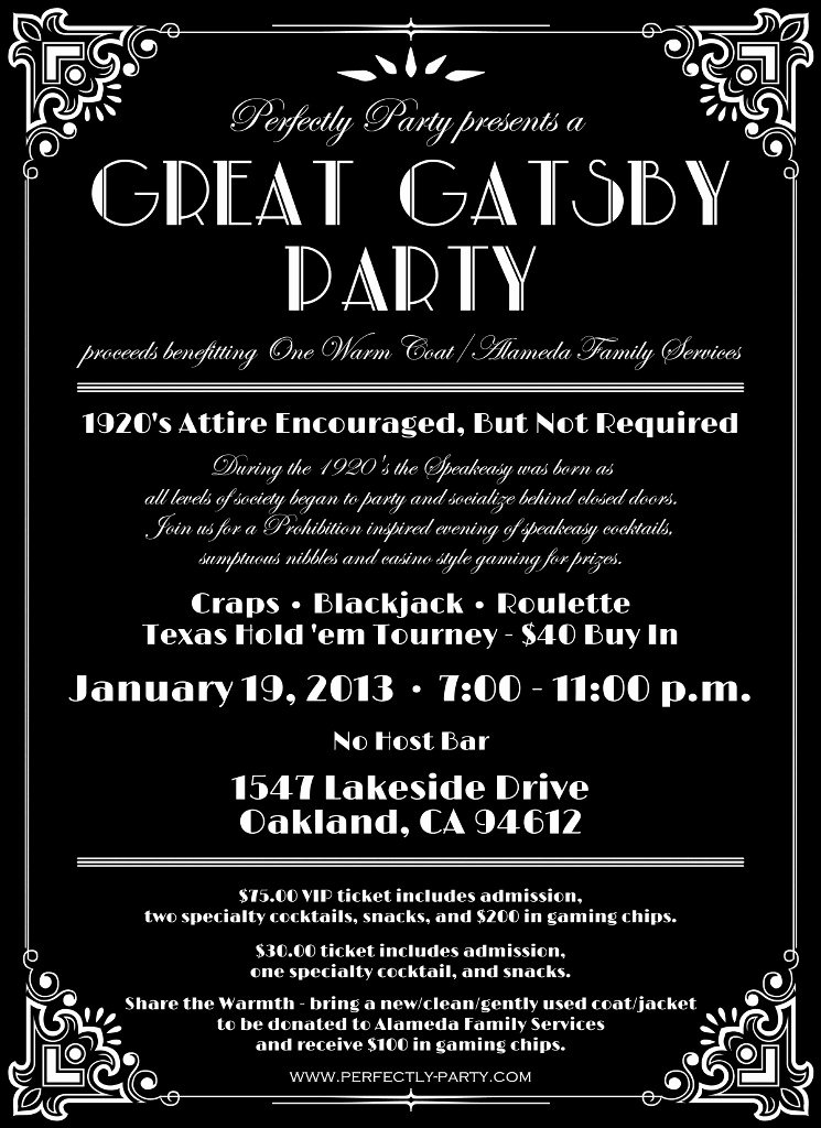 Great Gatsby Party Invitation Template Free Best Of Great Gatsby Party Benefitting E Warm Coat Alameda