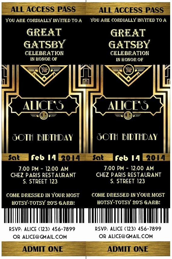 Great Gatsby Party Invitation Template Free Fresh Great Gatsby Style Art Deco Party Invitation Prom by Studiodmd