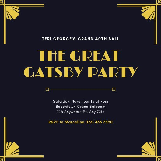 Great Gatsby Party Invitation Template Free Inspirational Customize 65 Great Gatsby Invitation Templates Online Canva