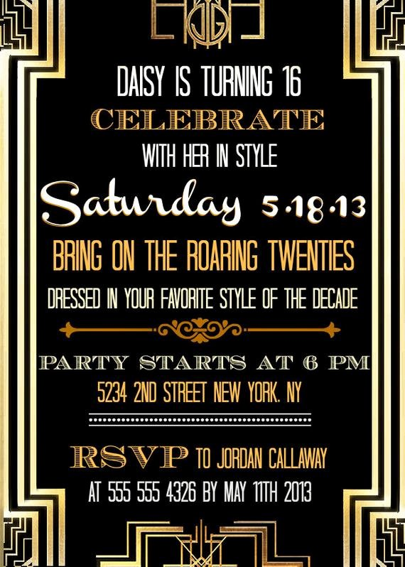 Great Gatsby Party Invitation Template Free Lovely Custom Printable Great Gatsby Inspired Invitations
