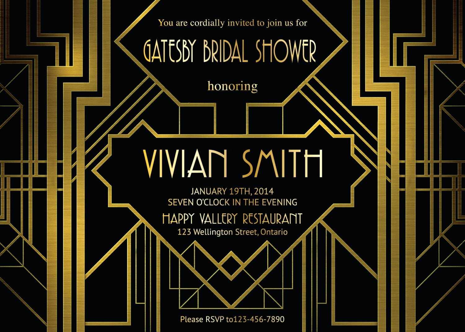 Great Gatsby Party Invitation Template Free Lovely Great Gatsby Bridal Shower Invitation Art Deco Customized