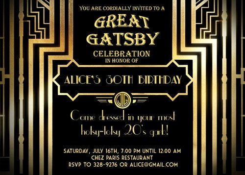 Great Gatsby Party Invitation Template Free Luxury Gatsby Party Invitation