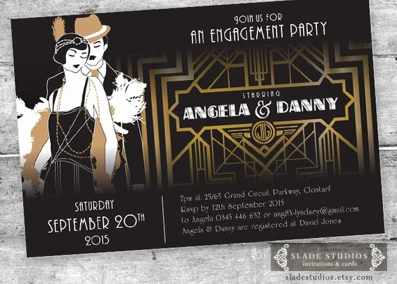 Great Gatsby Party Invitation Template Free Luxury Great Gatsby Engagement Party Invitations Movie Poster Style