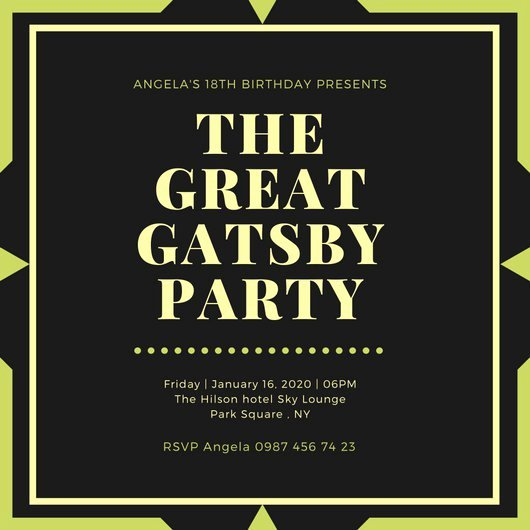 Great Gatsby Party Invitation Template Free Unique Customize 204 Great Gatsby Invitation Templates Online