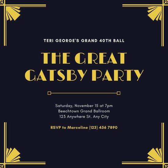 Great Gatsby Party Invitation Templates Beautiful Customize 64 Great Gatsby Invitation Templates Online Canva
