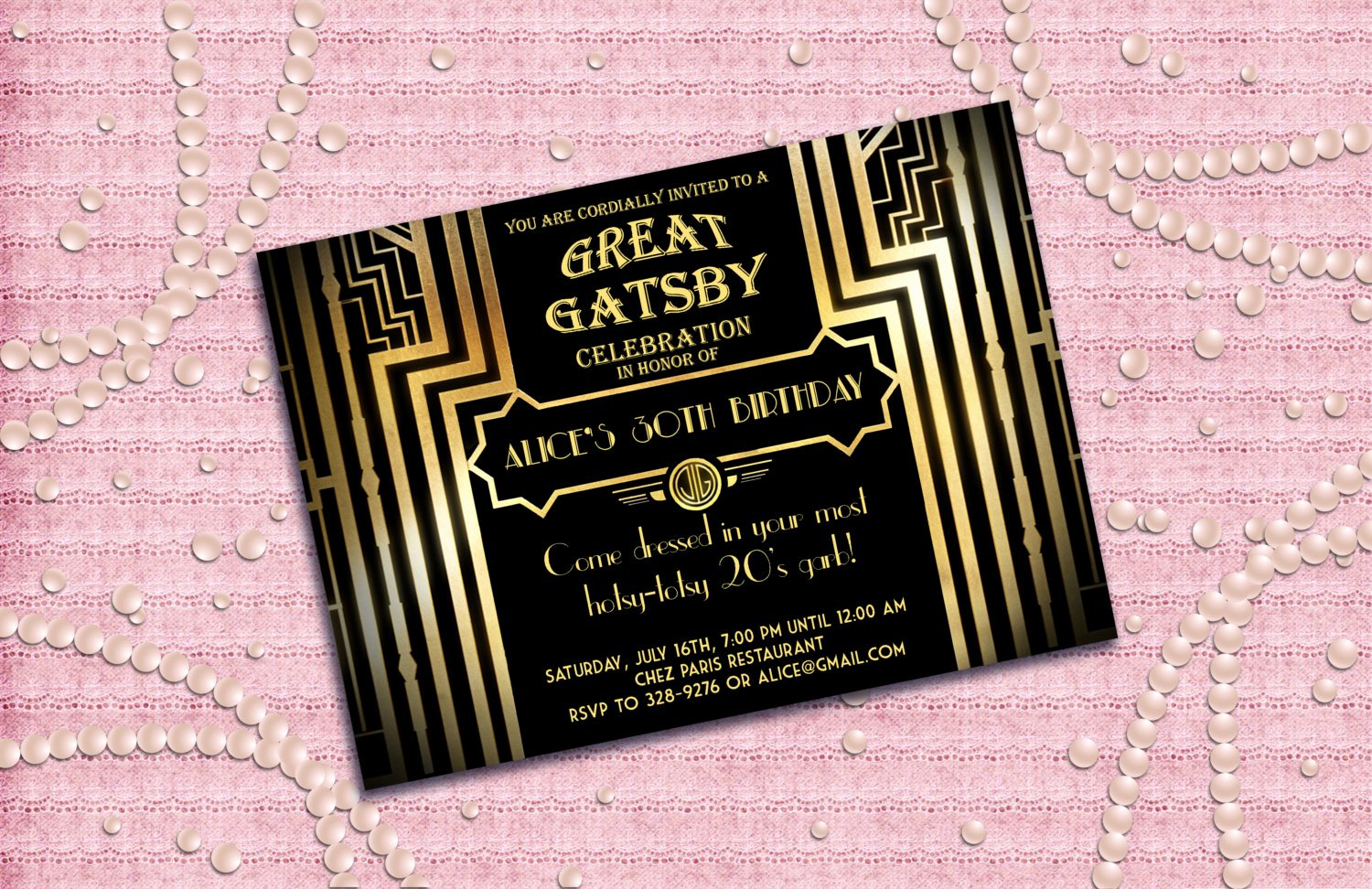 Great Gatsby Party Invitation Templates Elegant 1920s Party Invites