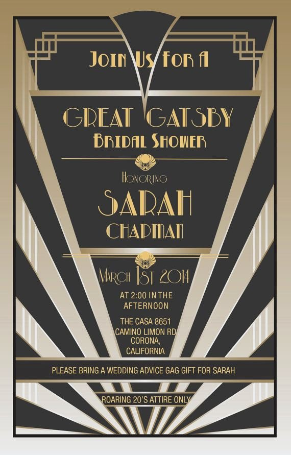 Great Gatsby Party Invitation Templates Elegant Great Gatsby Invitations Gatsby Style
