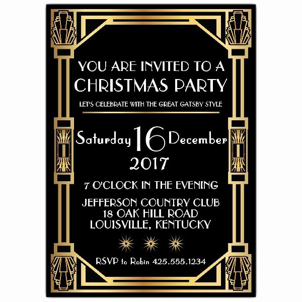 Great Gatsby Party Invitation Templates Inspirational Gatsby Classic Deco Christmas Party Invitations