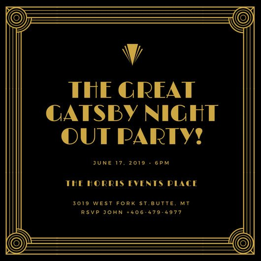 Great Gatsby Party Invitation Templates Inspirational Gold and Black Bordered Great Gatsby Invitation