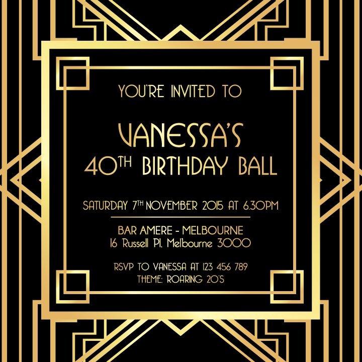 Great Gatsby Party Invitation Templates Lovely Great Gatsby Digital Printable Invitation Template Black