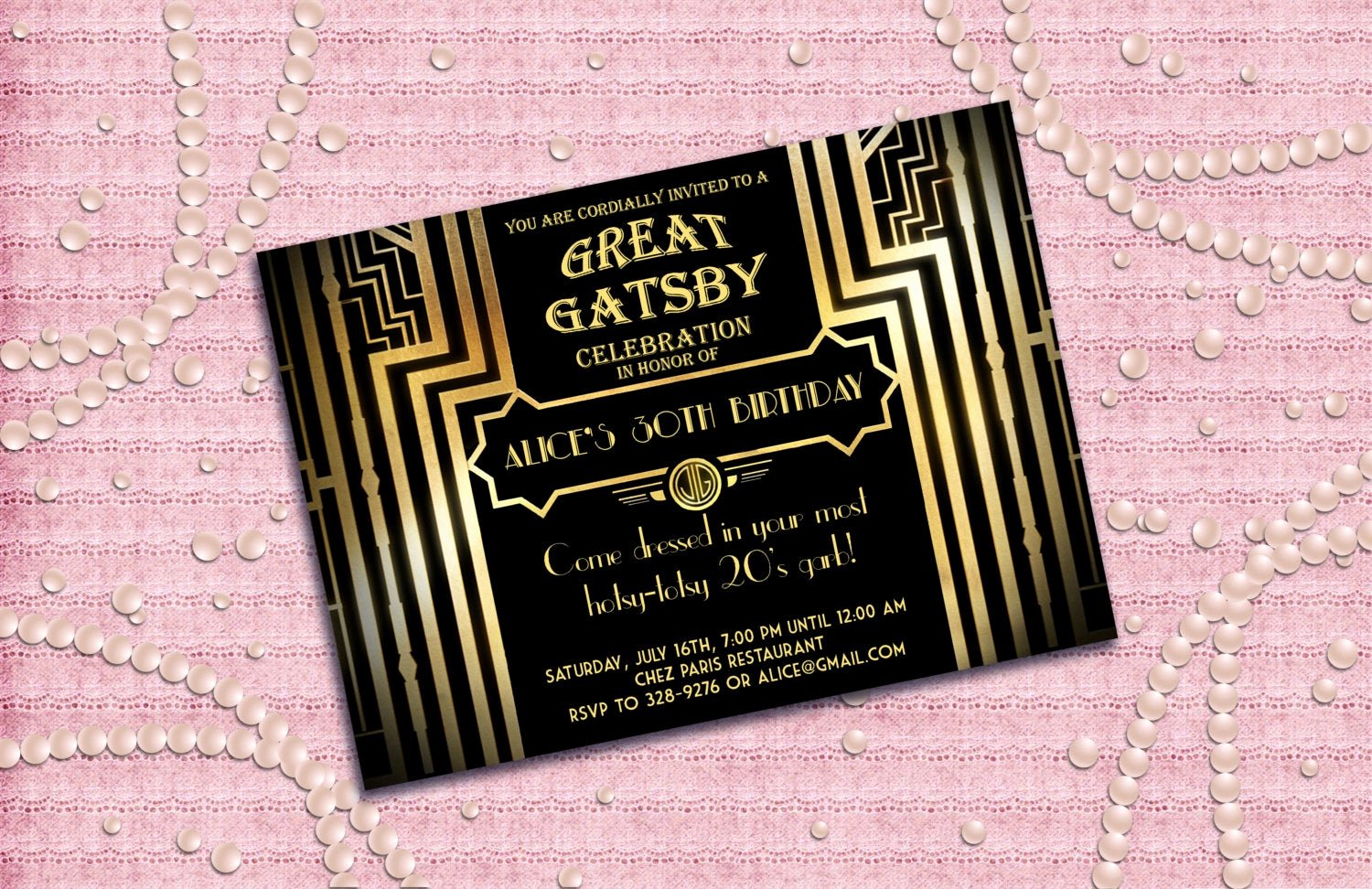 Great Gatsby Party Invitation Templates Lovely Great Gatsby Style Art Deco Birthday Party Invitation by