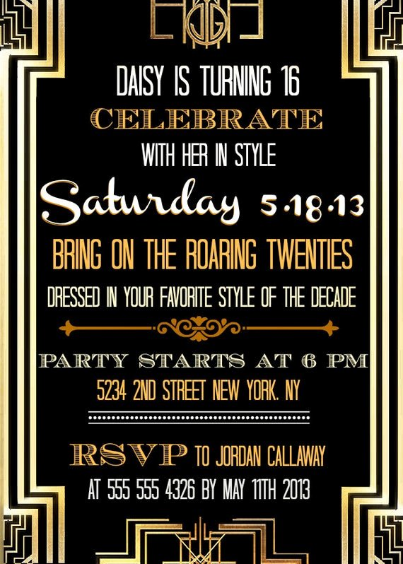 Great Gatsby Party Invitation Templates Luxury Custom Printable Great Gatsby Inspired Invitations