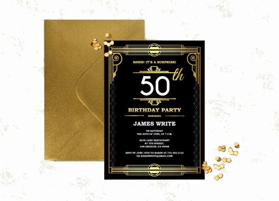 Great Gatsby Party Invitation Templates Luxury Great Gatsby Birthday Invitation Template Art by Partygraphix