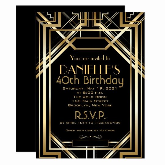 Great Gatsby Party Invitation Templates Luxury Great Gatsby Inspired Art Deco Birthday Invitation