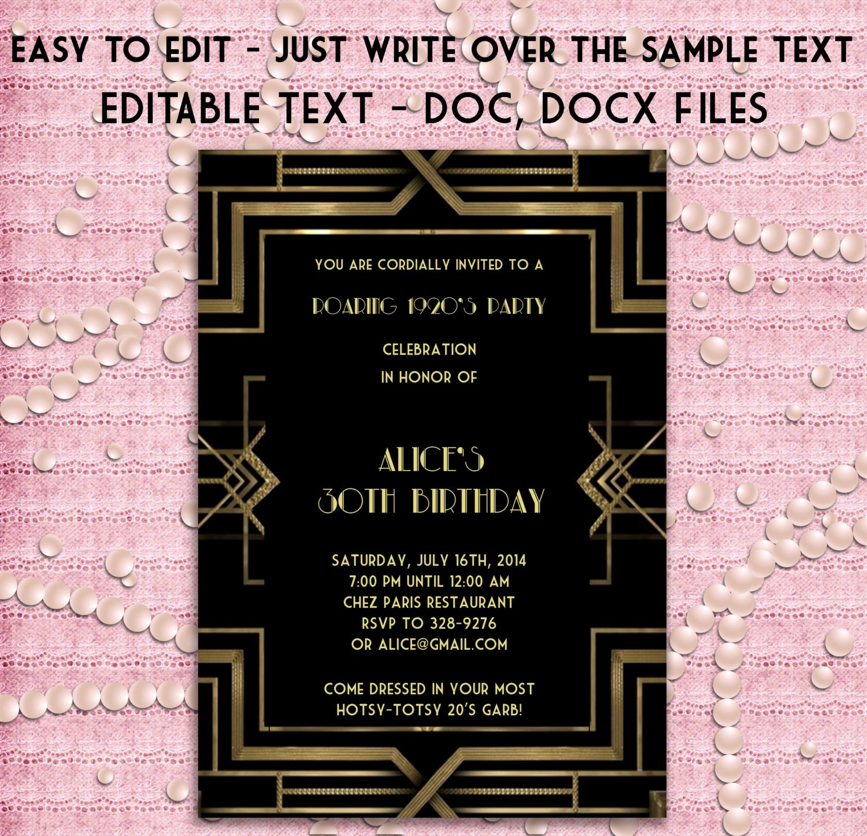 Great Gatsby Party Invitation Templates Luxury Great Gatsby Style Art Deco Party Invitation Prom Birthday