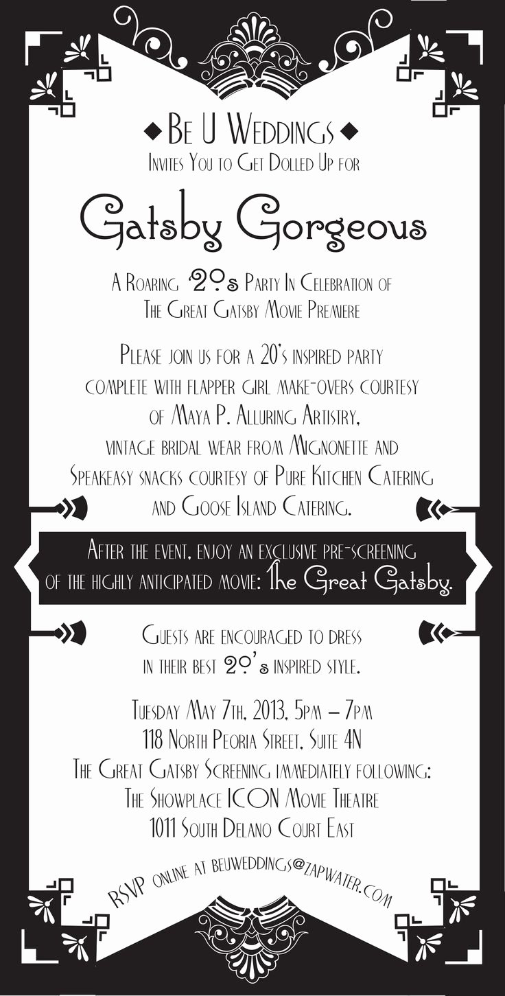 Great Gatsby Party Invitation Templates Unique 17 Best Images About Great Gatsby Graphics On Pinterest