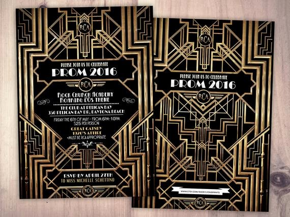 Great Gatsby Prom Invitations Awesome Great Gatsby Prom Invitation Roaring 20 S Hollywood Film