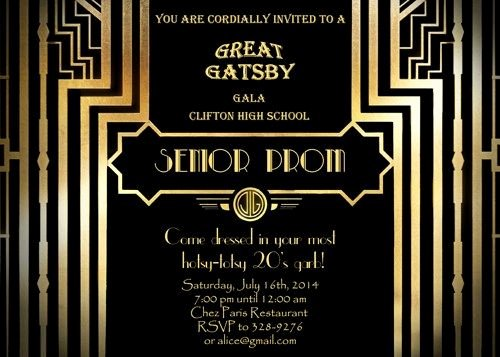 Great Gatsby Prom Invitations Awesome Great Gatsby Style Art Deco Prom Invitation 1920 S