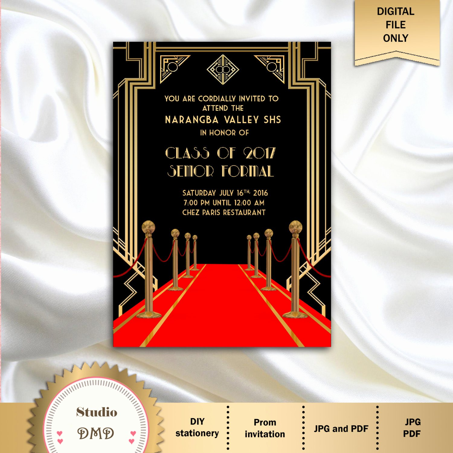 Great Gatsby Prom Invitations Awesome Great Gatsby Style Art Deco Prom Invitation Red Carpet Prom