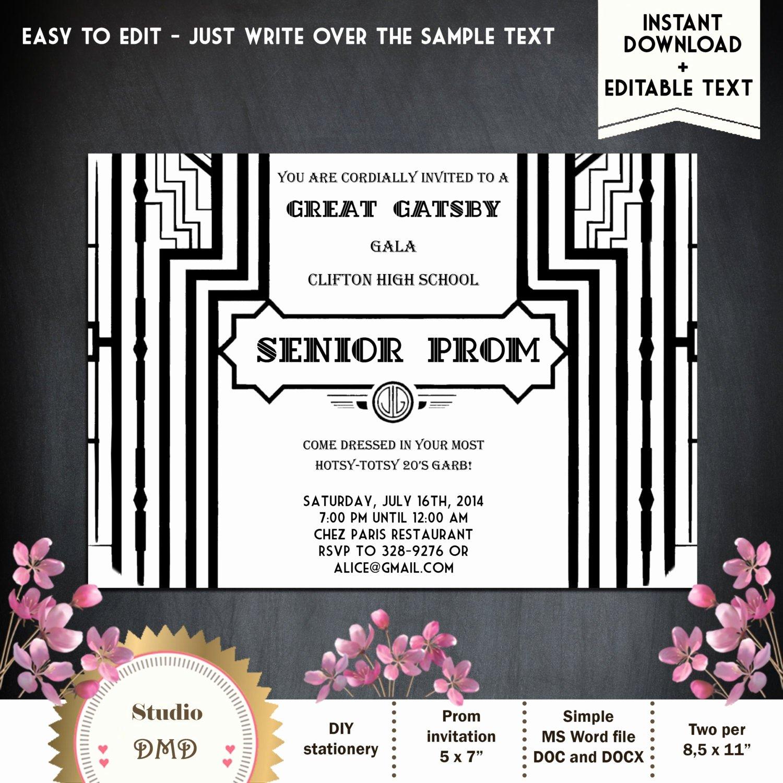 Great Gatsby Prom Invitations Fresh Great Gatsby Style Art Deco Prom Invitation Black and Gold