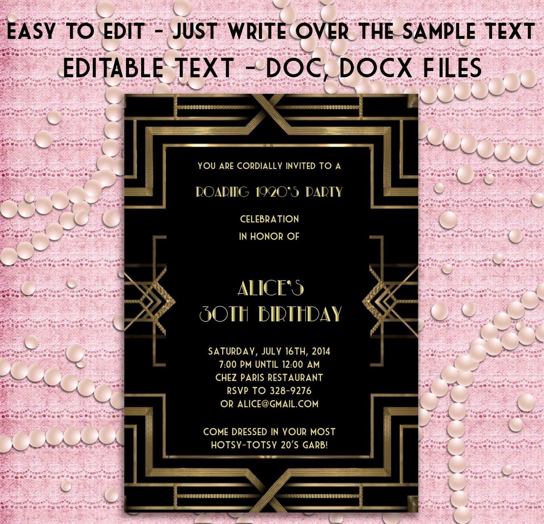 Great Gatsby Prom Invitations Lovely Great Gatsby Style Art Deco Party Invitation Prom Birthday