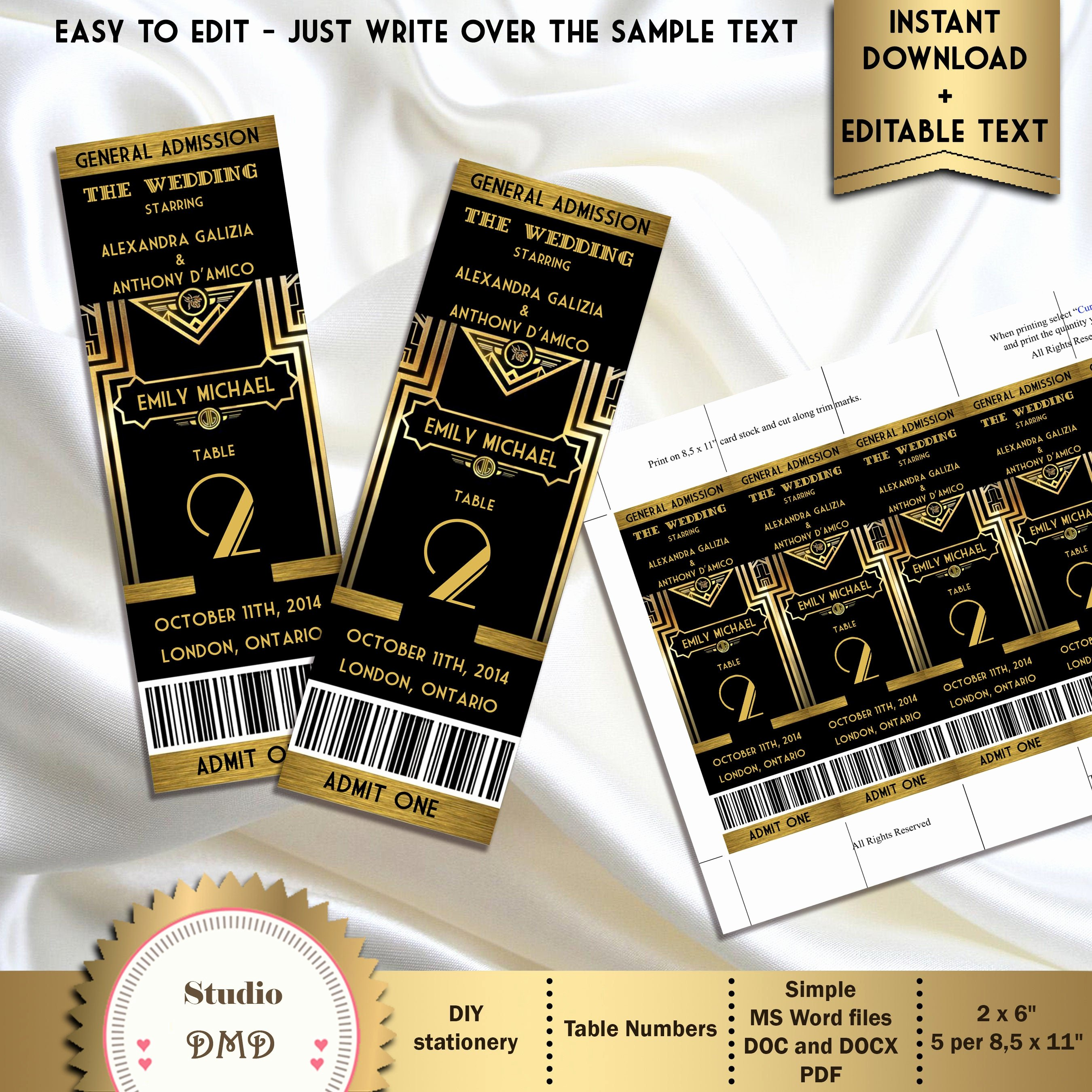 Great Gatsby Ticket Template Awesome Great Gatsby Style Art Deco Table Numbers Card Ticket Style